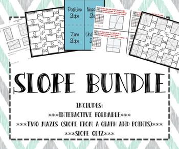 Calculating Slope INB FOLDABLE, Mazes, and Quiz BUNDLE