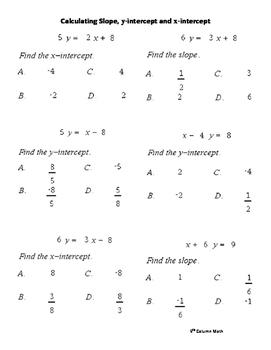 Calculating Slope, y-intercept and x-intercept (Quiz)