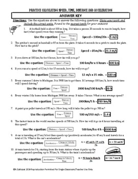 Calculating Speed, Distance, Time and Acceleration Practice