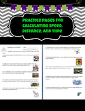 Calculating Speed, Distance, and Time Practice Pages