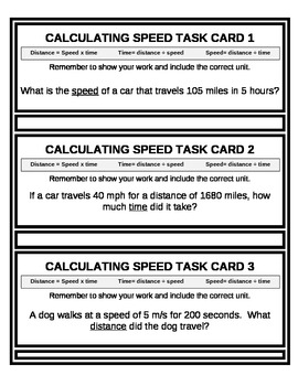 Calculating Speed Practice Task Cards (15) Speed, Distance or Time EDITABLE