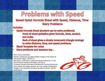 Calculating Speed Quick Formula Sheet with Speed, Distance, Time/Story Problems
