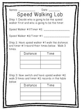 Calculating Speed: Speed Walking Lab