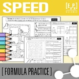 Calculating Speed (s=d/t) Practice, Maze and Word Search