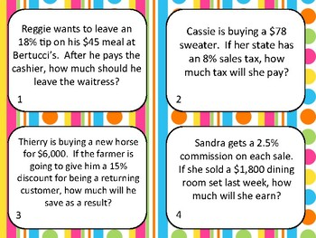 Percent Practice: Discount, Tax, and Tip Task Cards