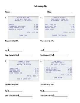 Calculating Tip Worksheet