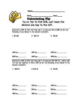 calculating tip worksheet by math with mrs b teachers pay teachers. Black Bedroom Furniture Sets. Home Design Ideas