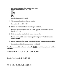 Calculating Variance and Standard Deviation by hand