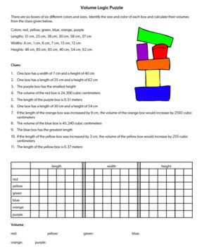 Calculating Volume Logic Puzzle, Critical Thinking