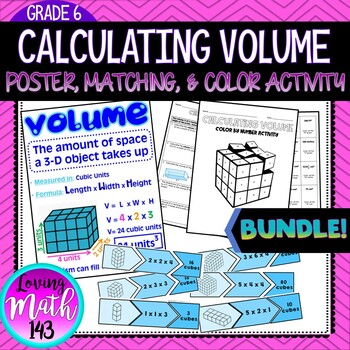 Calculating Volume: Poster, Matching, & Coloring Activity BUNDLE