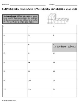 Calculating Volume Using Cubic Units - Spanish Task Cards