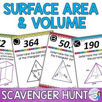 Calculating Volume and Surface Area of Prisms and Pyramids - Scavenger Hunt
