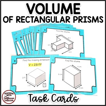 Calculating Volume Of Rectangular Prisms 20 Task Cards With