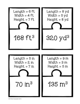 Calculating Volume of Rectangular Prisms [Matching Puzzle Pieces Activity]