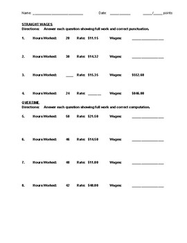 Calculating Wages Practice Worksheet