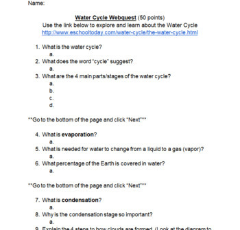 Calculating Water Usage Packet + Water Cycle Webquest