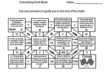 Calculating Work Maze: Physical Science Activity