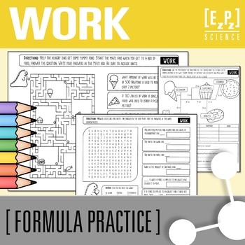 Calculating Work (W=fd) Practice, Maze and Word Search