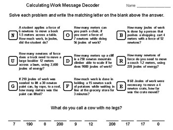 Calculating Work Word Problems: Physics Message Decoder Science