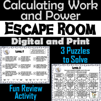 Calculating Work and Power Activity: Physics Escape Room Science
