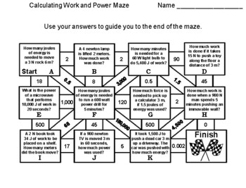 Calculating Work and Power Maze: Physical Science Activity