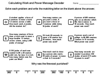 Calculating Work and Power: Physics Message Decoder Science