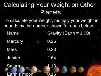 Calculating Your Weight on Other Planets