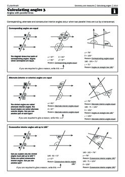 Calculating angles 3 - Parallel lines (corresponding, alte