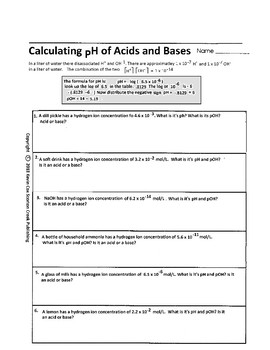 Acids And Bases Worksheets | Teachers Pay Teachers