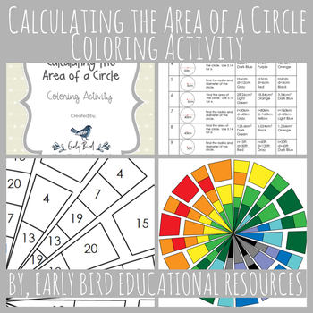 Calculating the Area of a Circle Coloring Activity