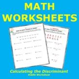 Calculating the Discriminant Riddle Worksheet