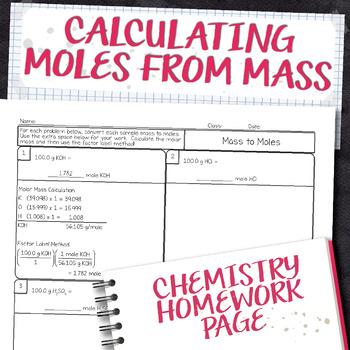 Calculating Moles from Mass Chemistry Homework Worksheet