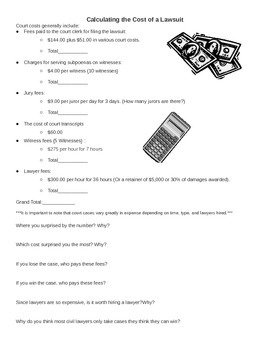 Calculating the cost of a lawsuit worksheet - lawyer, court fees explained