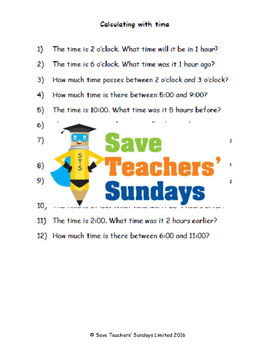 Calculating time lesson plans, worksheets and more