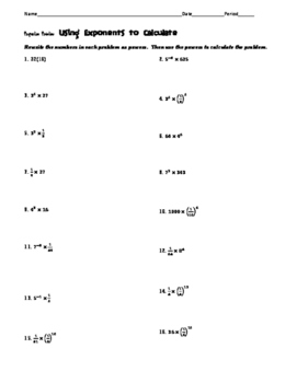 Calculating with Exponents Task Cards