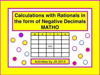 Calculating with Rationals in the form of Negative Decimals MATHO