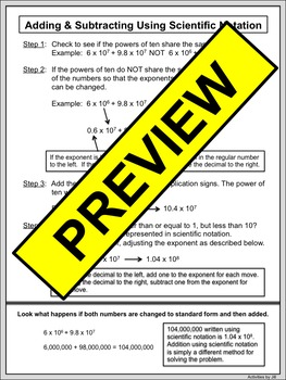 Calculating Using Scientific Notation Notes & Examples