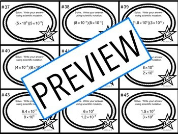 Scientific Notation Task Cards (Calculation)