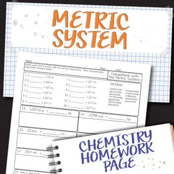 Calculating with the Metric System Chemistry Homework Worksheet