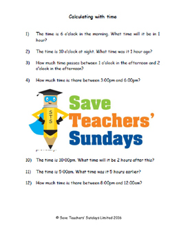 Calculating with time lesson plans, worksheets and more