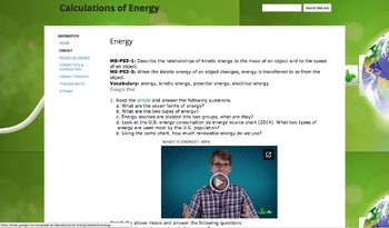 Calculations of Energy MS-PS3-1 to 5
