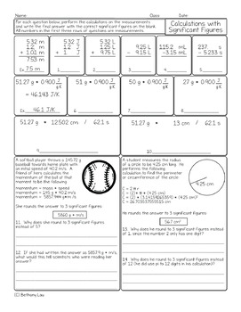 Calculations with Significant Figures Chemistry Homework Worksheet