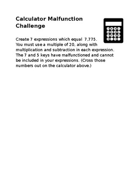 Calculator Malfunction Math Challenge