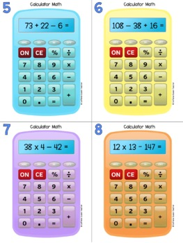 Calculator Math Practice with Task Cards and Worksheets