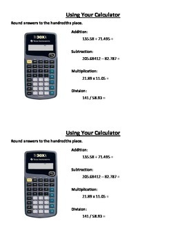 Calculator Practice - Decimals and Rounding