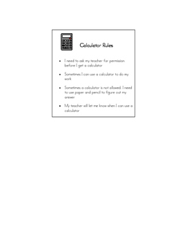 Calculator Rules Visual Support/Social Story