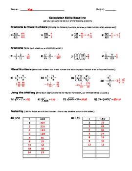 Calculator Skills Baseline Quiz