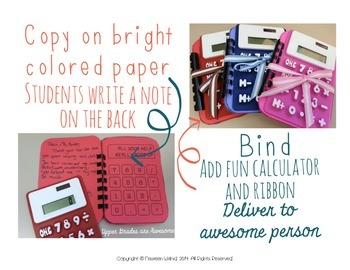 Calculator Thank You Notes for Volunteers and Awesome People *FREE*