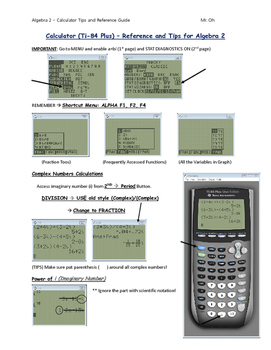 Calculator Tips and Reference Guide (Algebra 2)