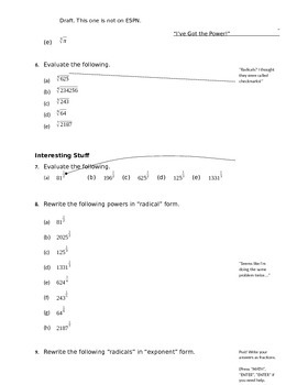 Calculator Worksheet - Exponents & Radicals